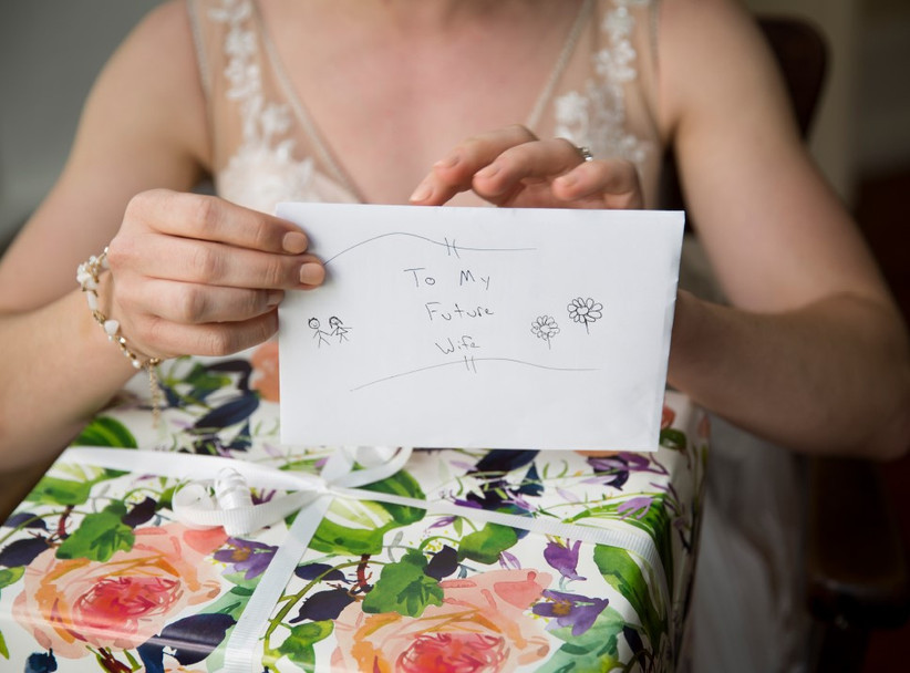 Bride opening a present