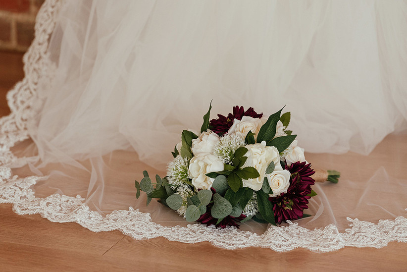 White, green and burgundy bridal bouquet