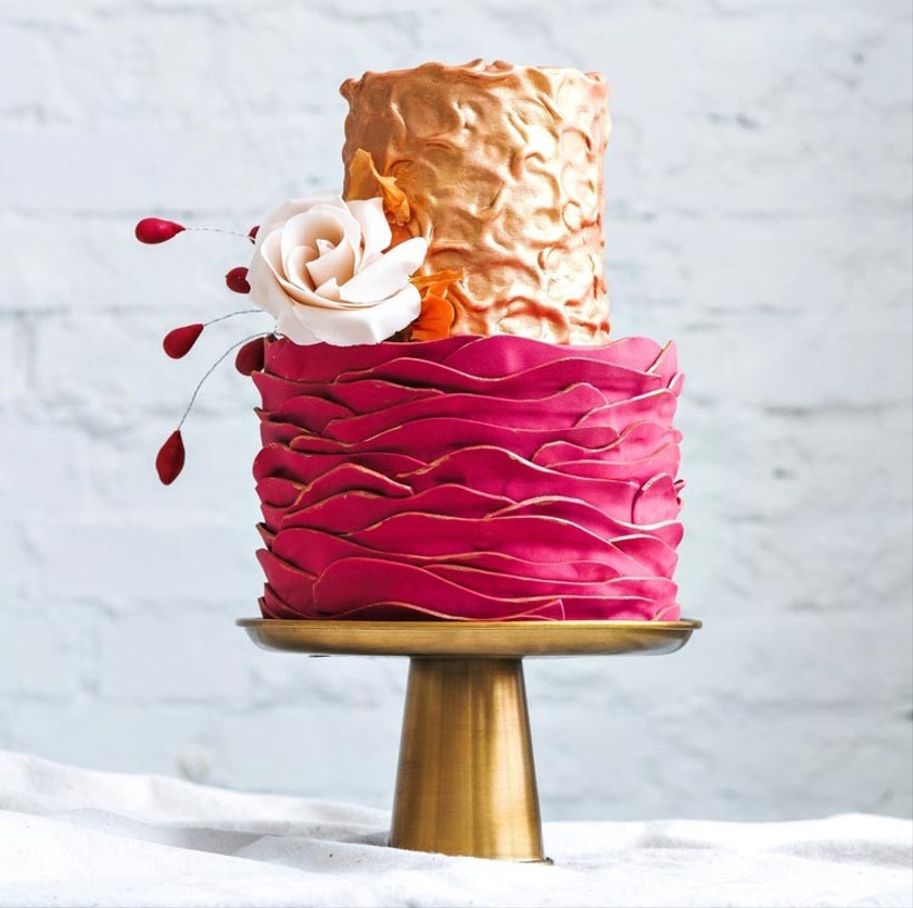 pink-and-rose-gold-wedding-cake
