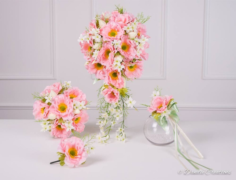 set-of-pink-wedding-flowers-with-cascading-bouquet