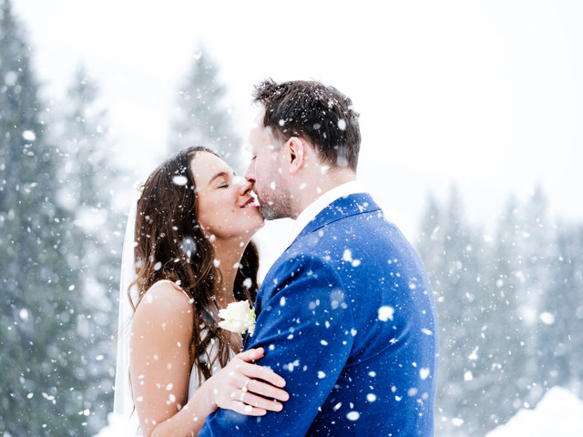 A Snowy Austrian Destination Wedding with Horse-Drawn Carriages + Two Wedding Dresses