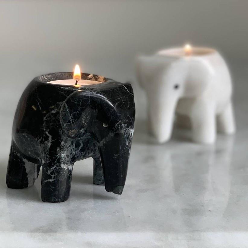 Marble elephant tea lights