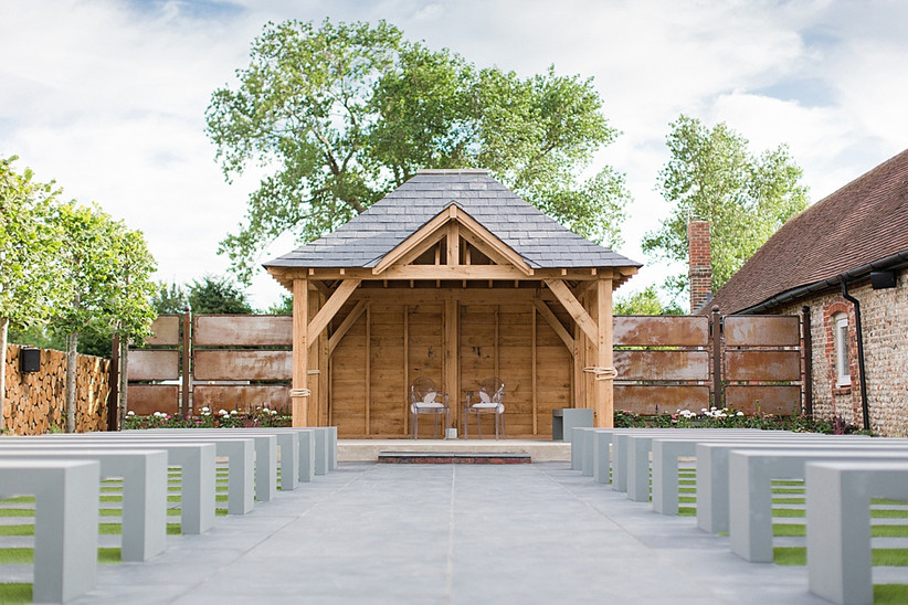 Outdoor wedding area at Southend Barns