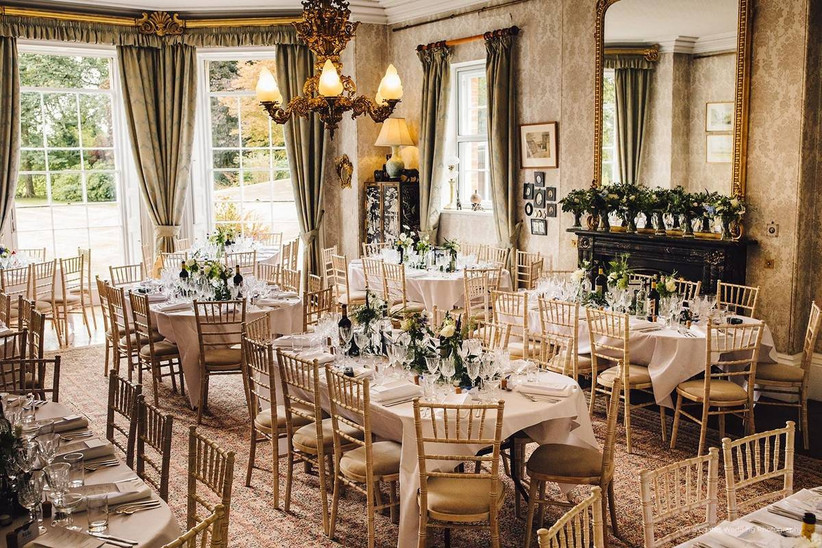 Grand dining room decorated with florals