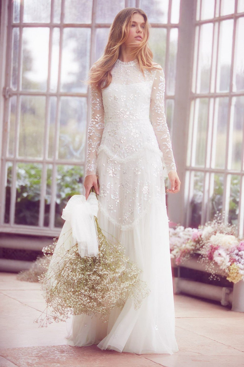 Needle and Thread tiered ivory gown