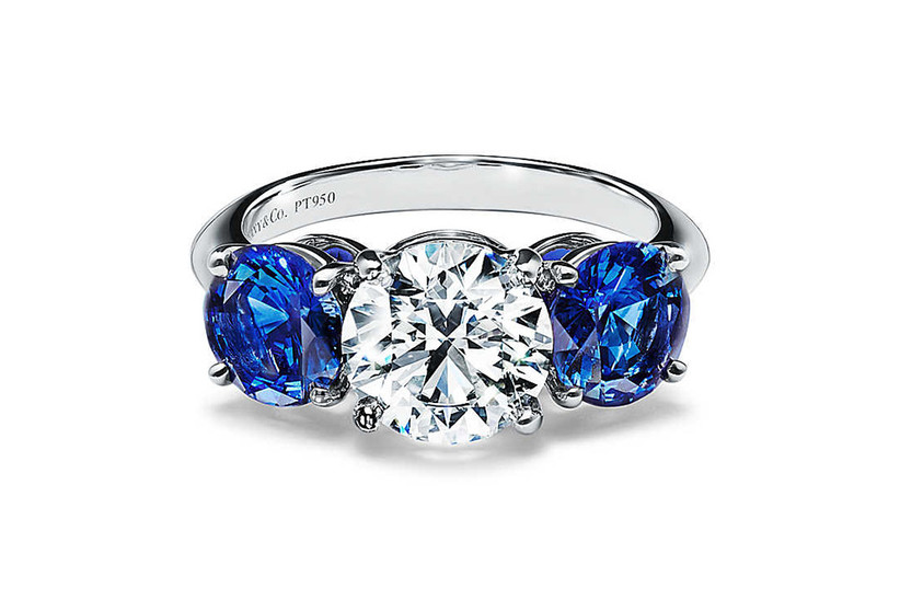 Tiffany Three Stone Engagement Ring with Sapphire Side Stones