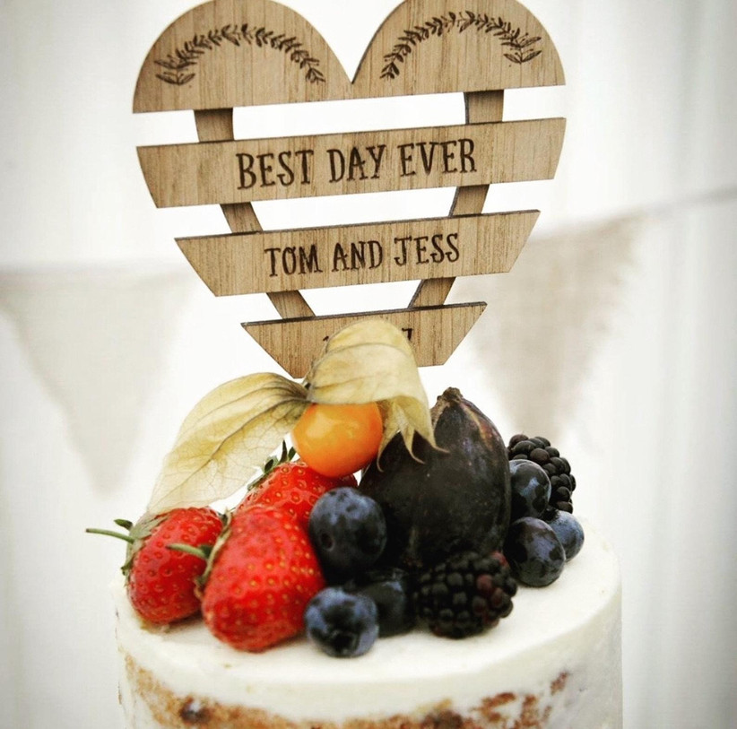Slatted wood wedding cake topper with names and best day ever