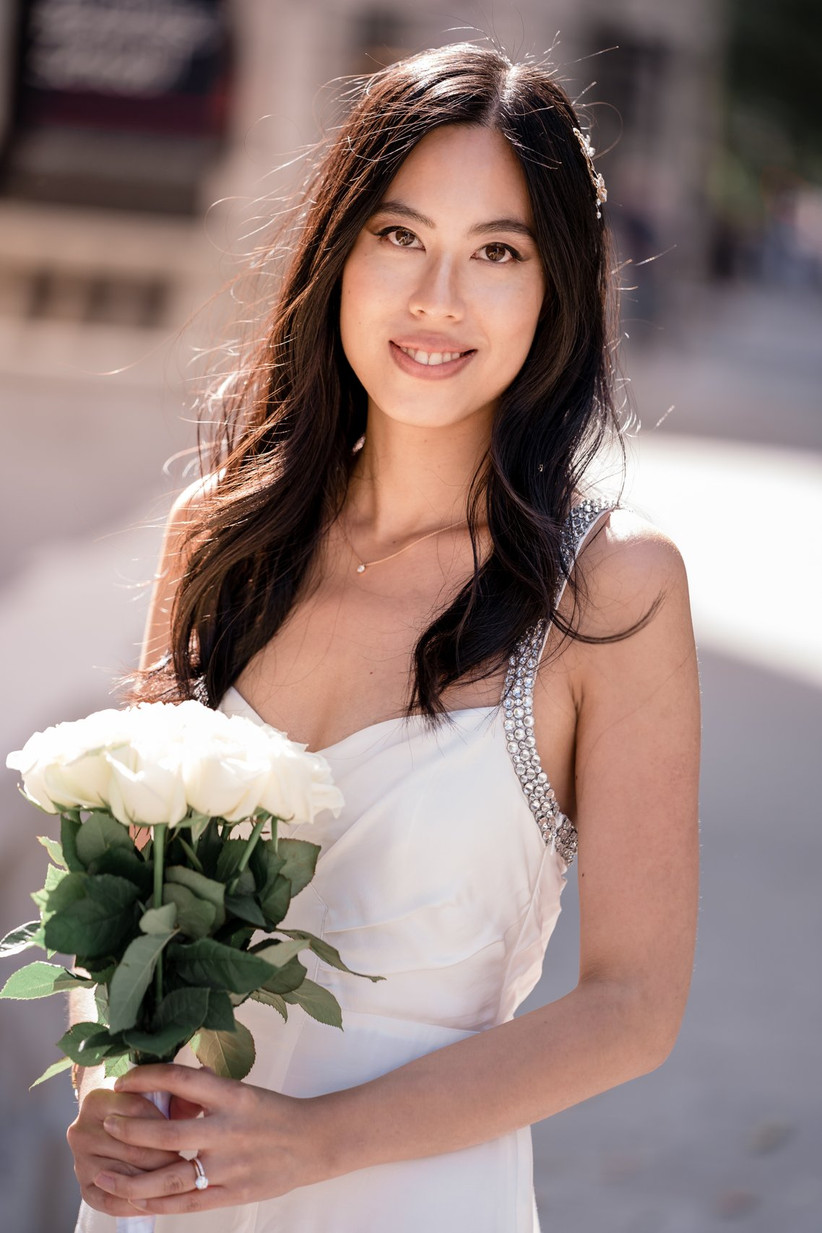 Close up of bride on a London street