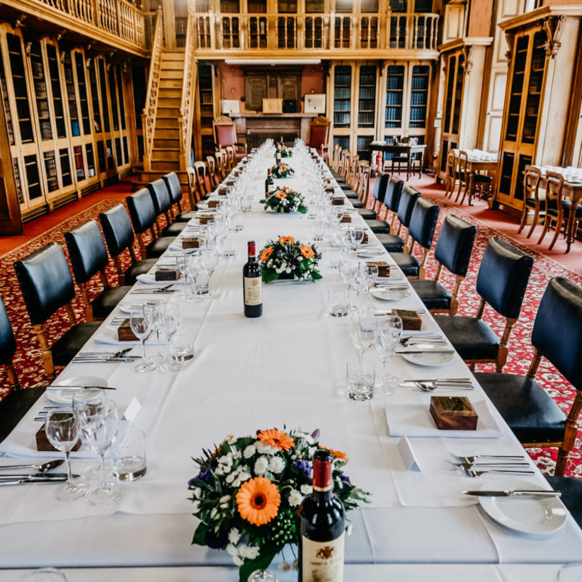 A long wedding reception table in the library at the Society of Advocates in Aberdeen