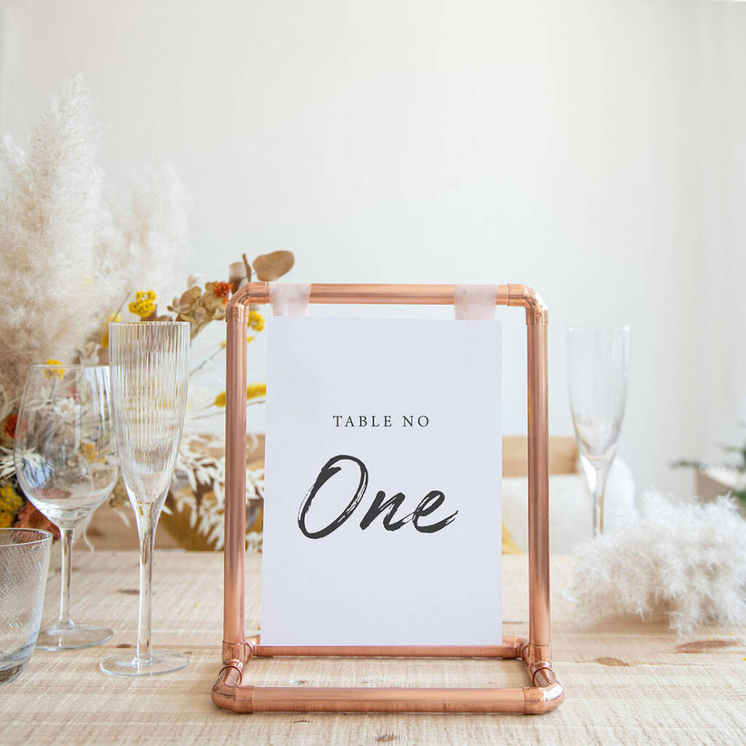 Copper pipe wedding table number