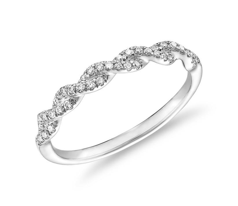 Pave Twist Diamond Wedding Ring