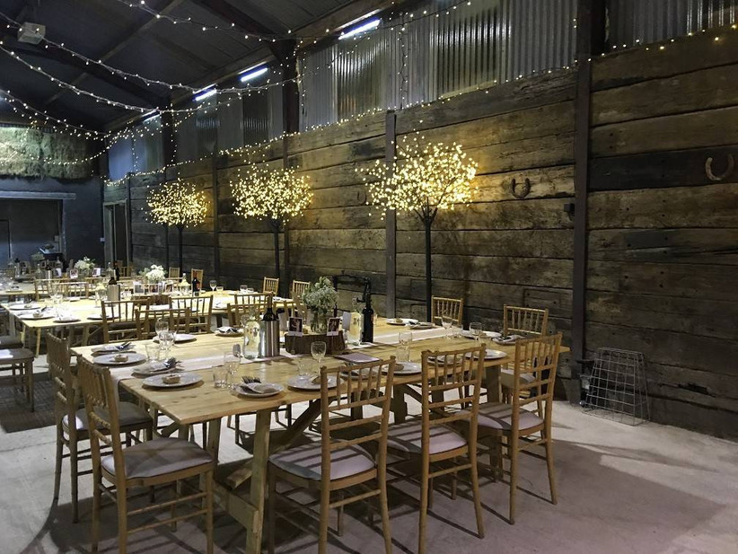 Dining wedding area with fairy lights