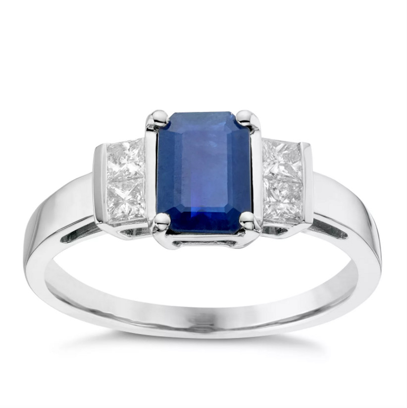White gold and sapphire