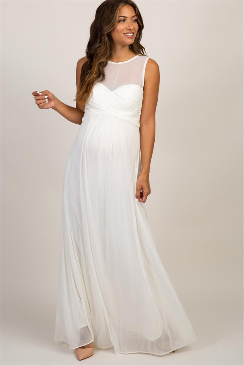 Long white maxi maternity dress with sheer mesh neckline