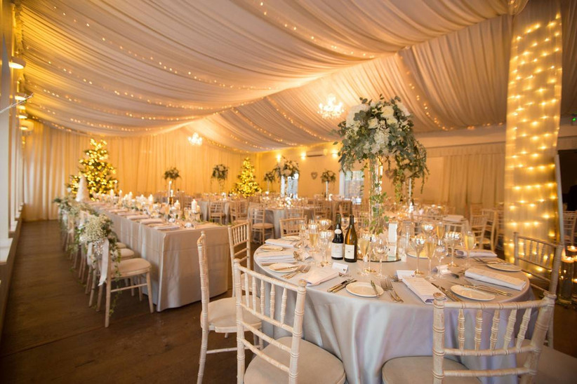 Wedding dining area with fairy lights