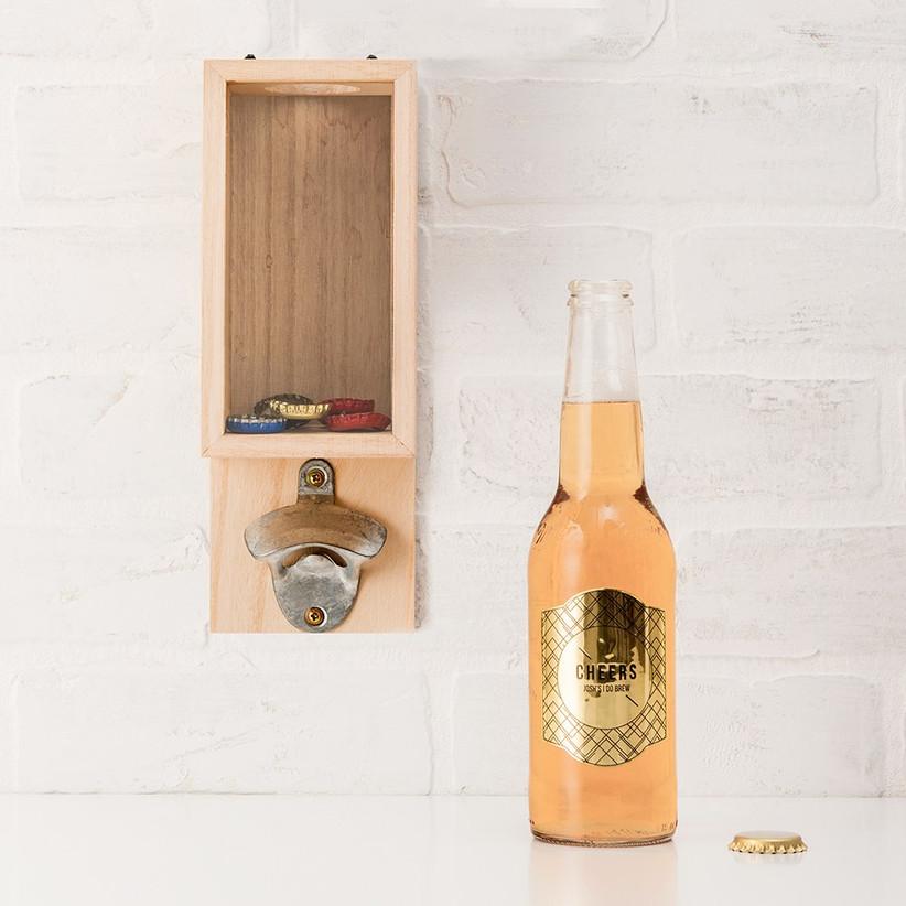 Wall mounted bottle cap opener