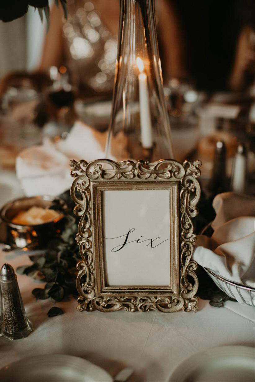 Gold frame wedding table number