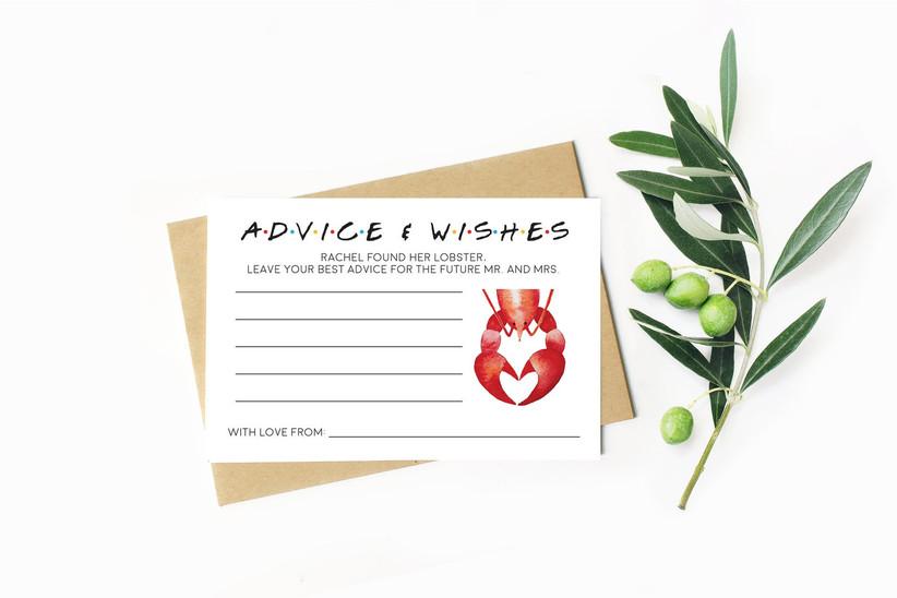Lobster themed wedding advice cards