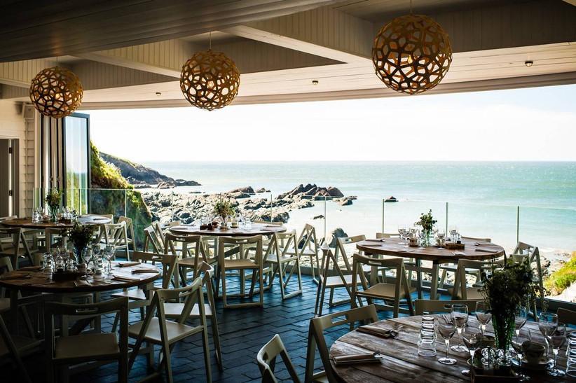 Wedding venue dining area overlooking the coast