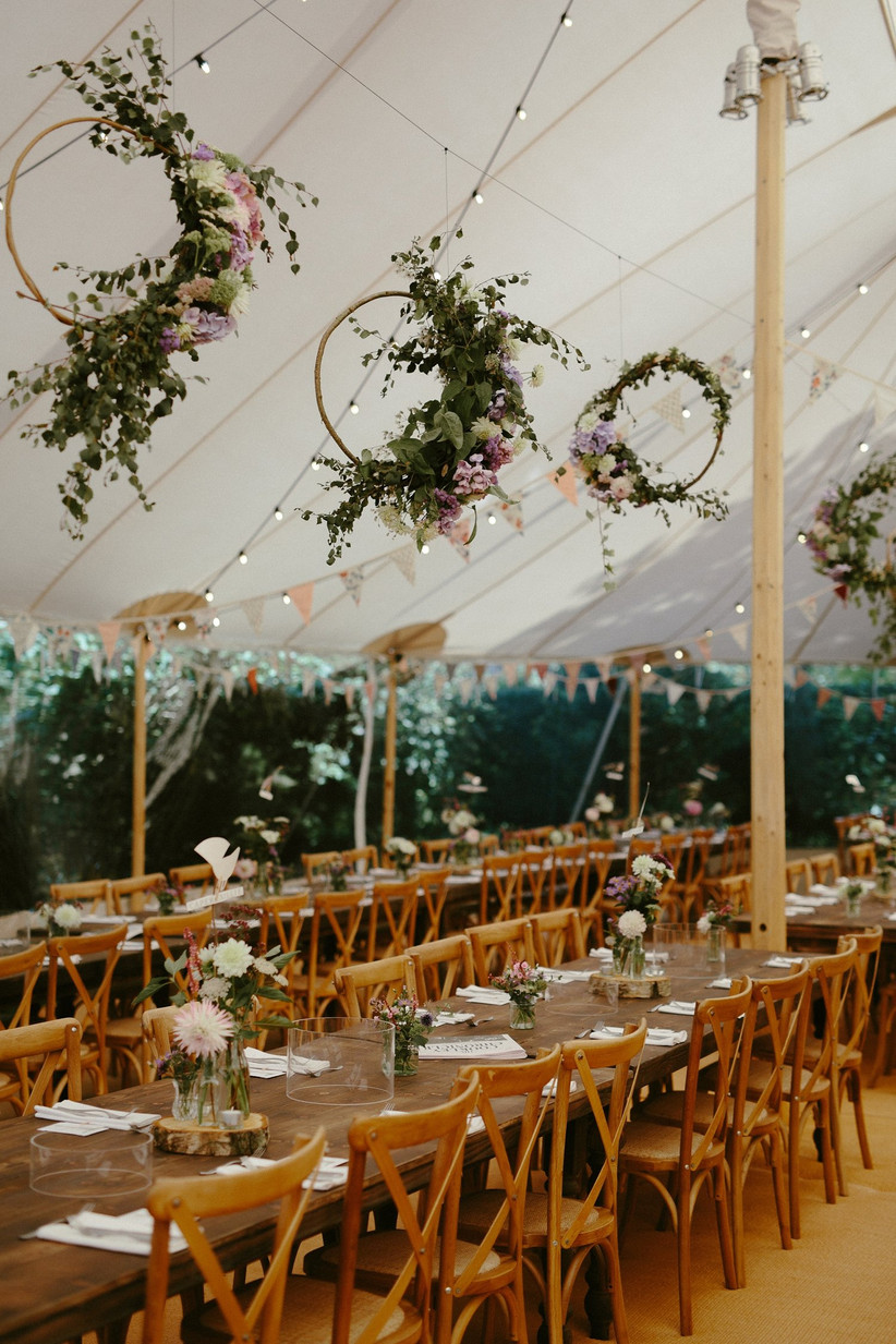 Hanging floral hoops at a wedding