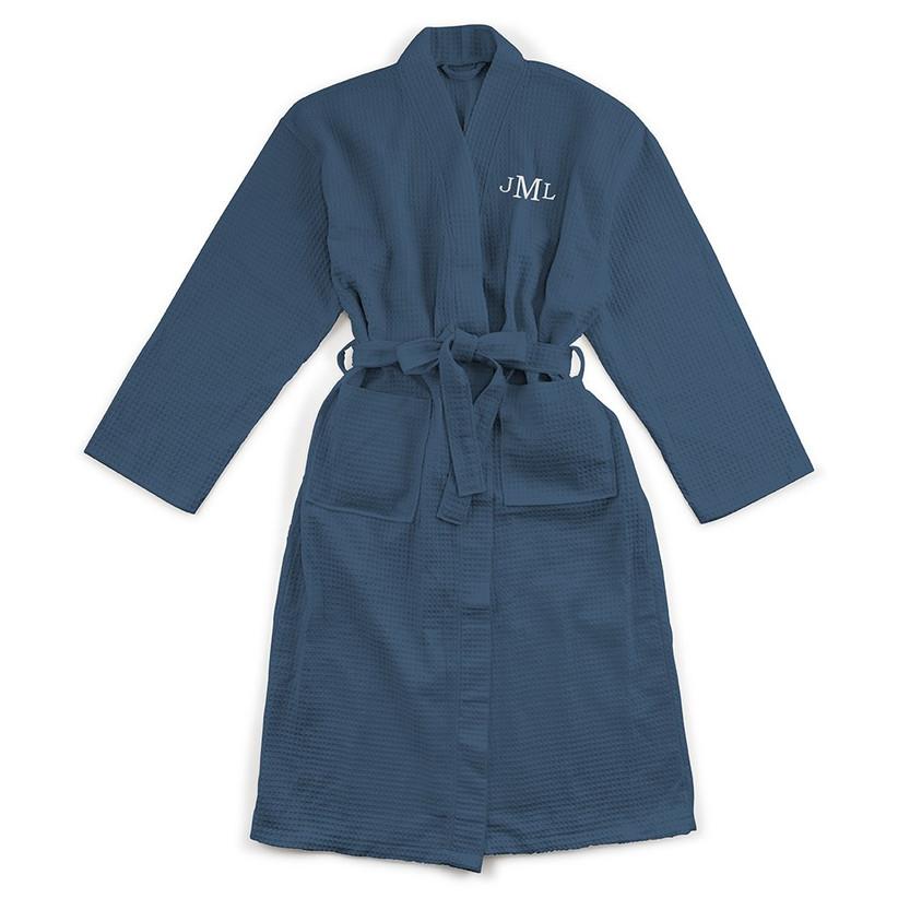 Navy personalised waffle robe
