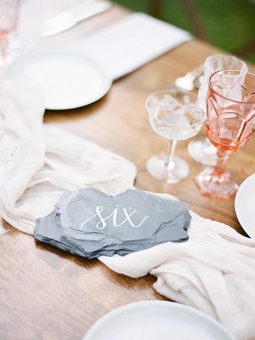 Slate wedding table number