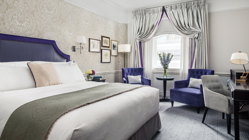 Purple bedroom of the terrace suite at the langham