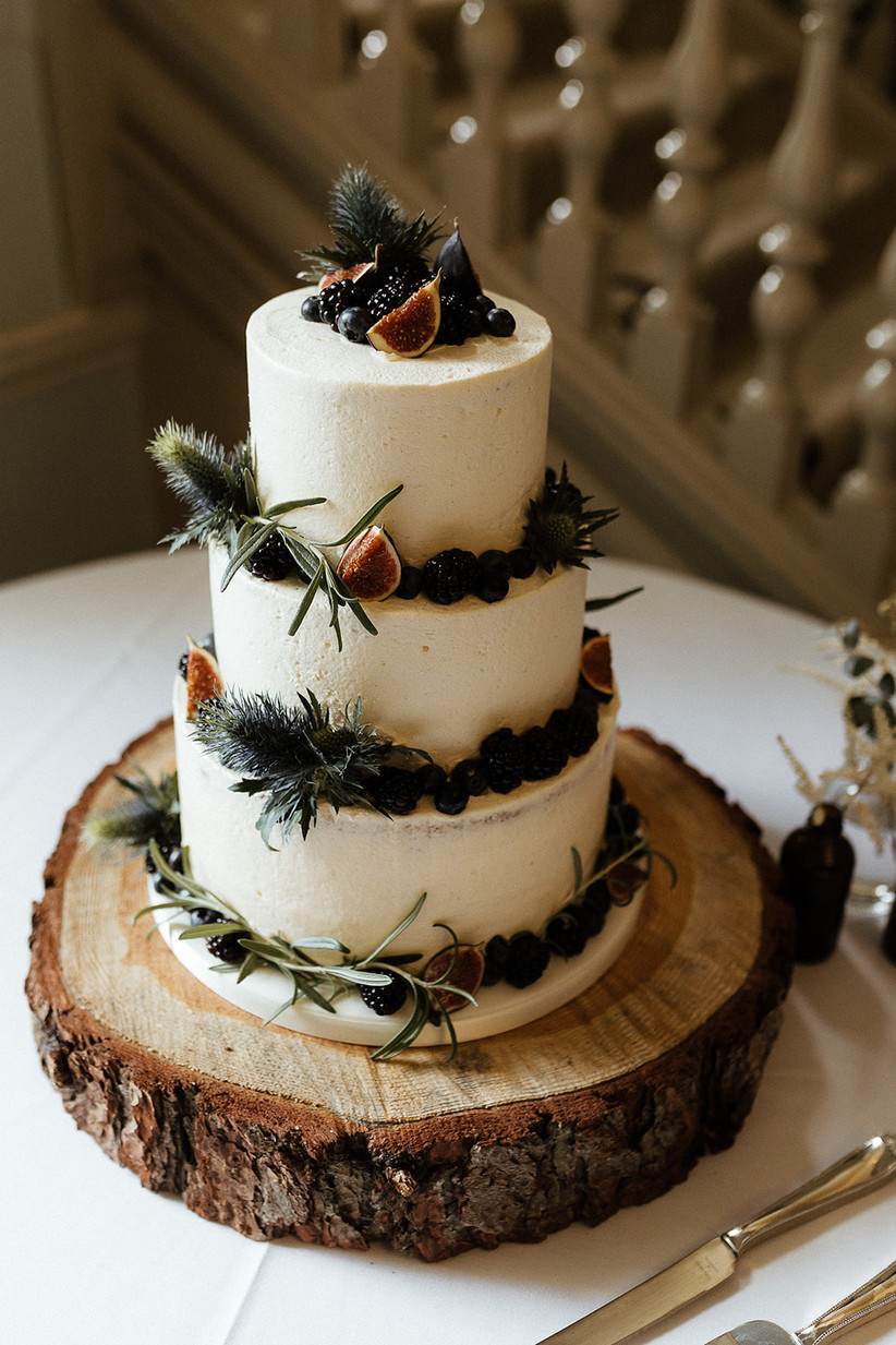 Fig and blackberry tiered wedding cake