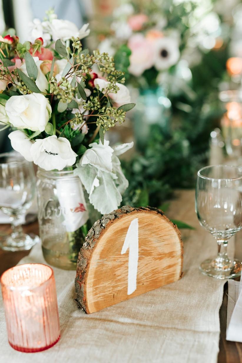 Tree slice wedding table number
