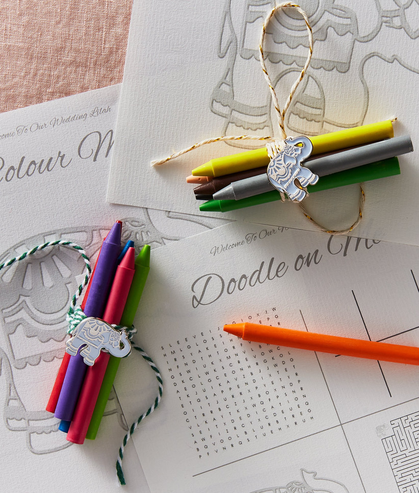 Charity Wedding Favours - crayons and activity pack