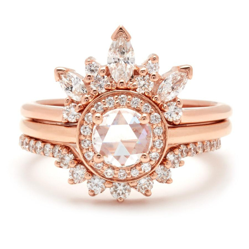 Decedent rose gold engagement ring