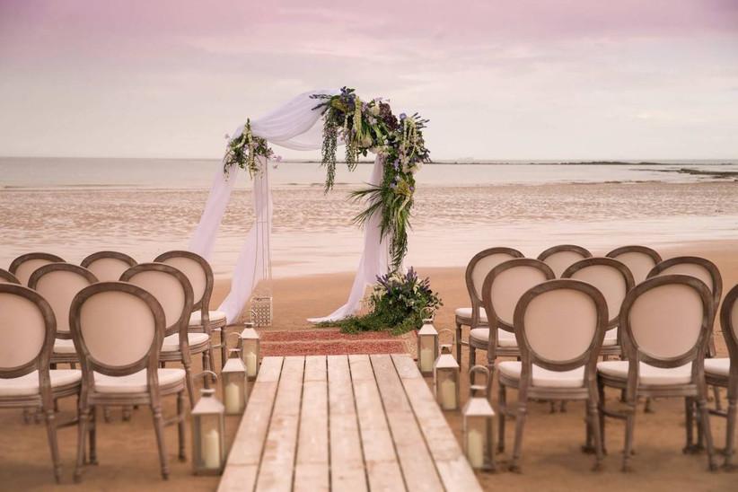 Outside coastal wedding ceremony