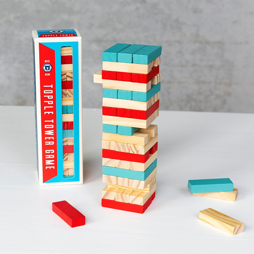 Wooden topple tower game