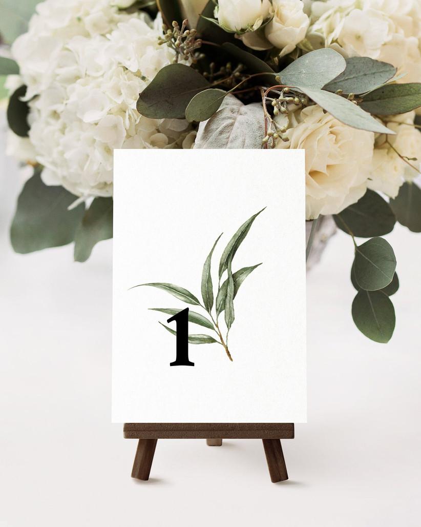 Eucalyptus wedding table number