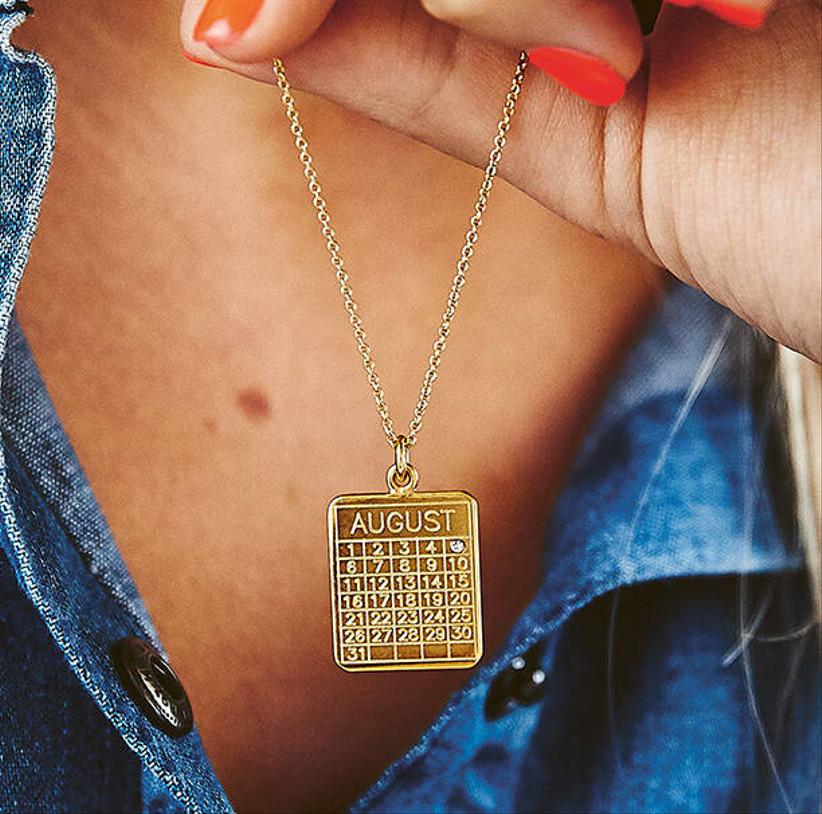 Gold diamond calendar date necklace