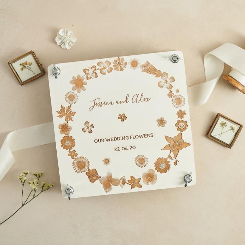 Personalised wedding flower press