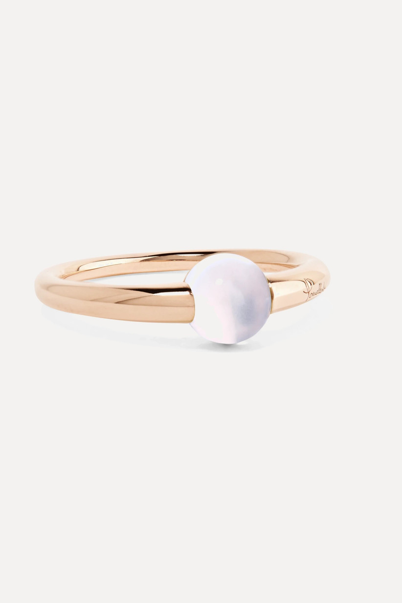 Moonstone and rose gold engagement ring