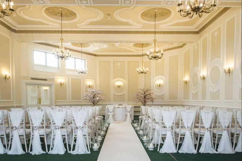 White panelled wedding ceremony room