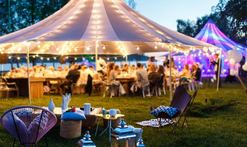 Marquee wedding venue with fairy lights