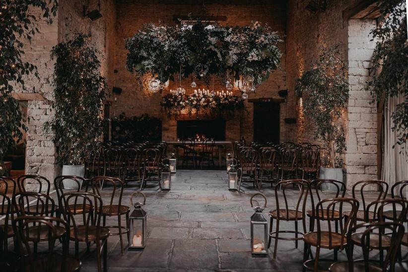 Moody barn wedding venue setting