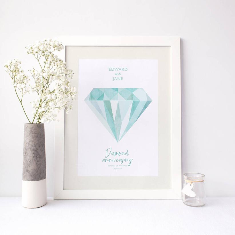 Diamond 60th wedding anniversary print