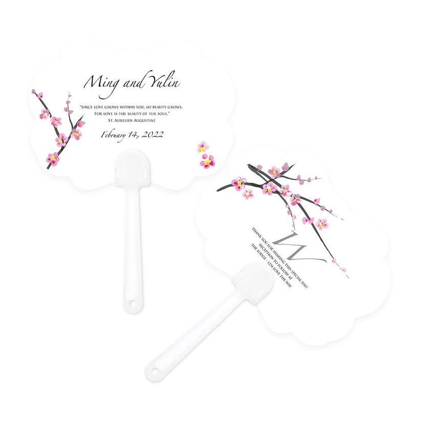 Cherry blossom personalised wedding fan