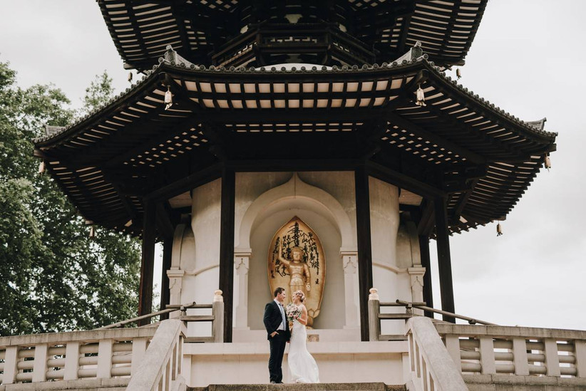 Bride and groom in a pavilion