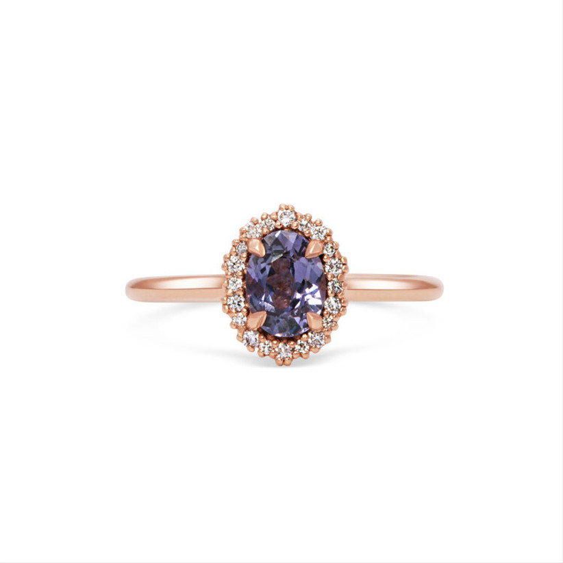 Purple and rose gold engagement ring