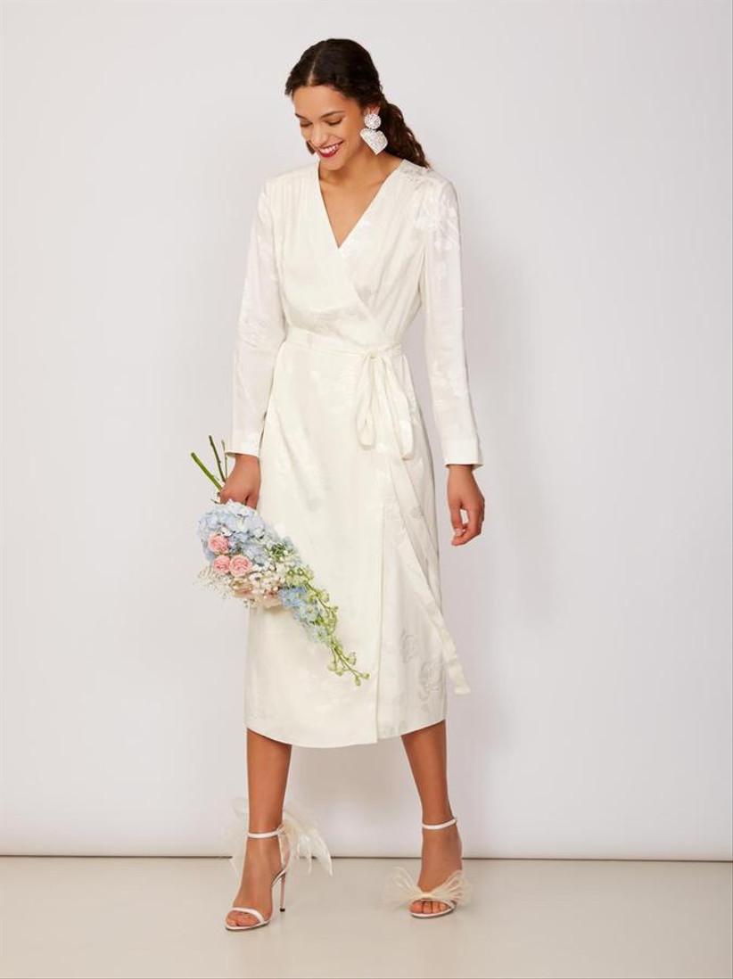 White long-sleeve wrap dress