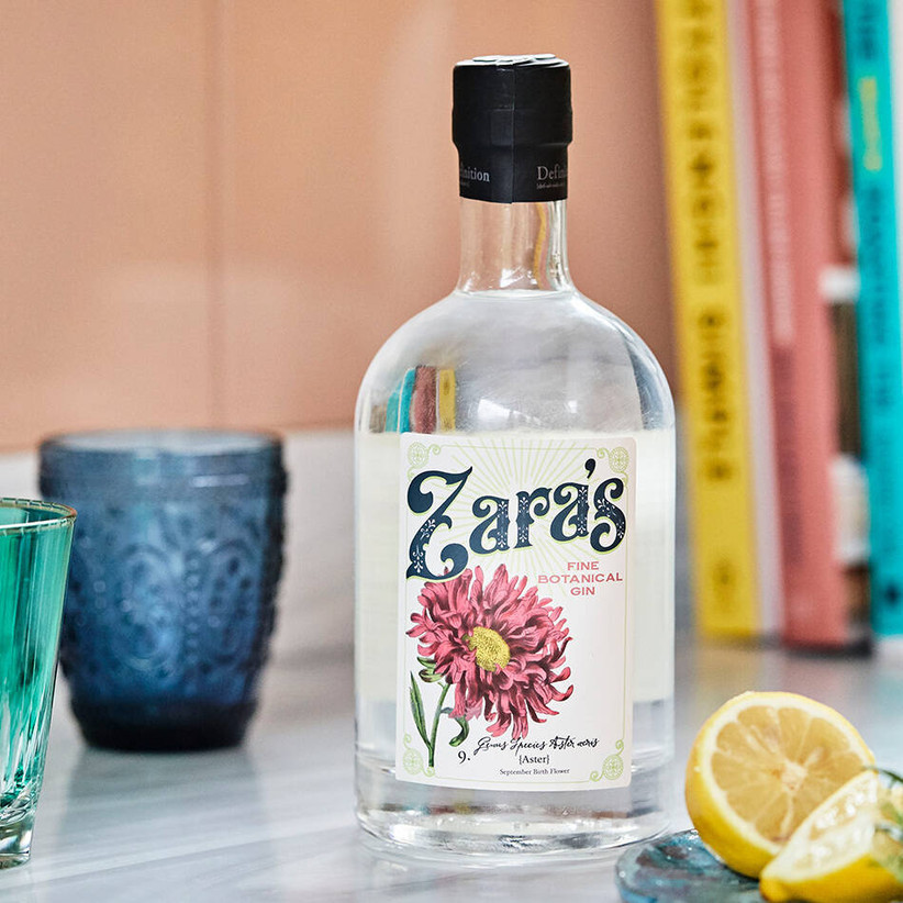 Personalised gin bottle