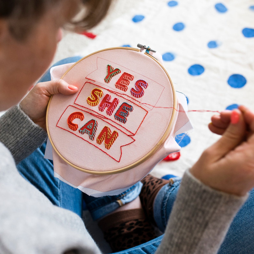 Yes she can embroidery kit