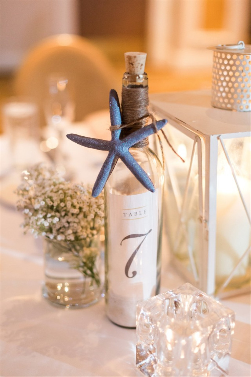 Message in a bottle wedding table number