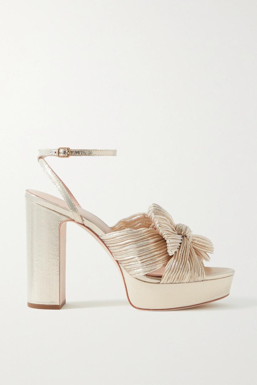 Gold platform wedding heels