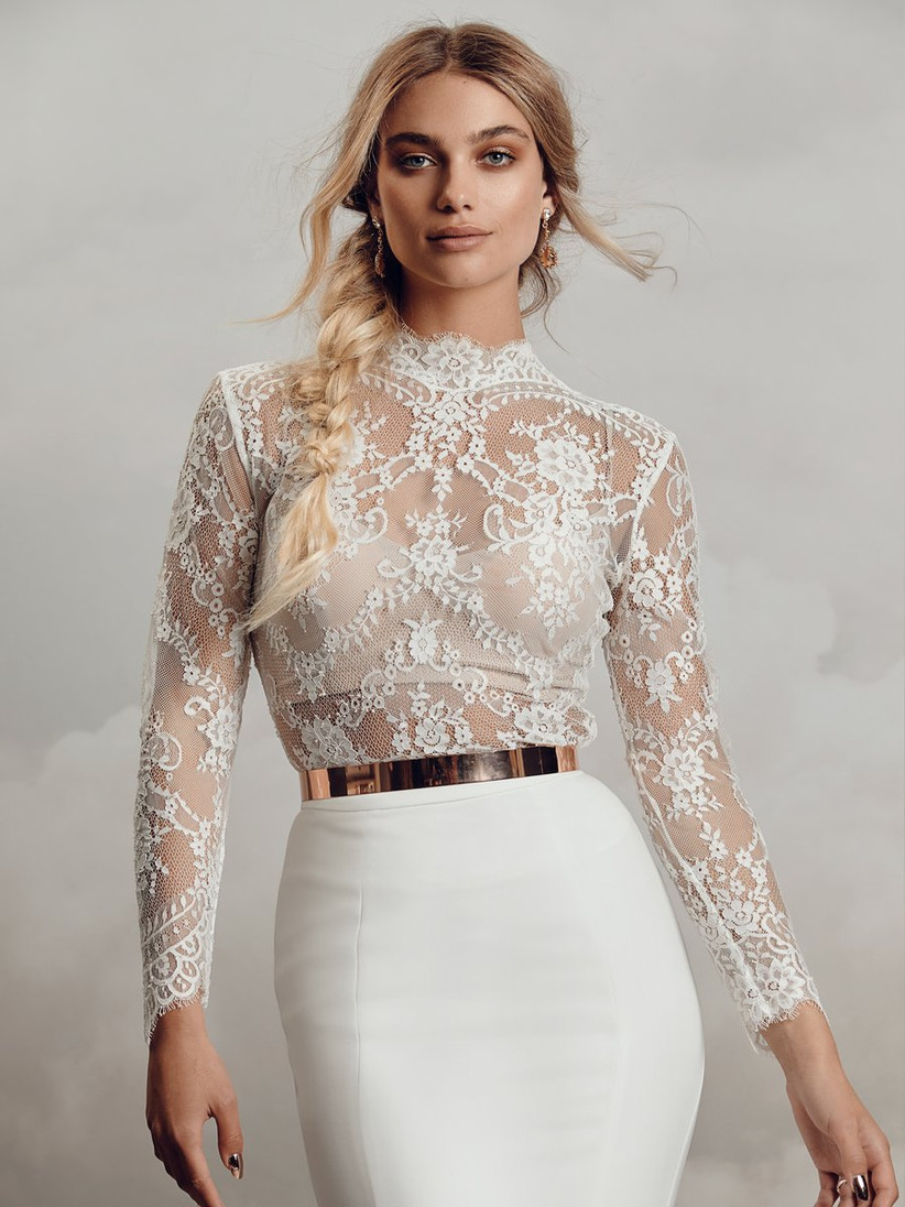 Model wearing a lace top